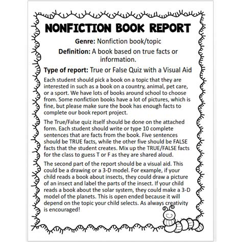 5th Grade Book Report Rubric