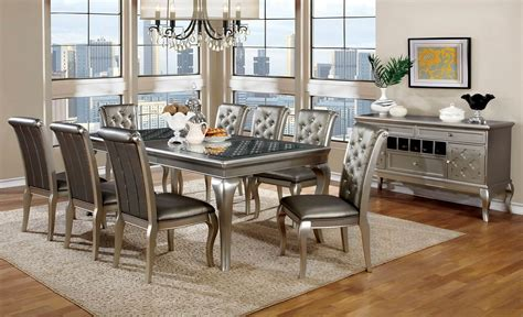 amina silver contemporary dining set