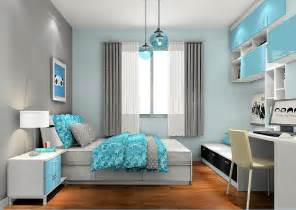 Light Blue And Gray Bedroom 3d House