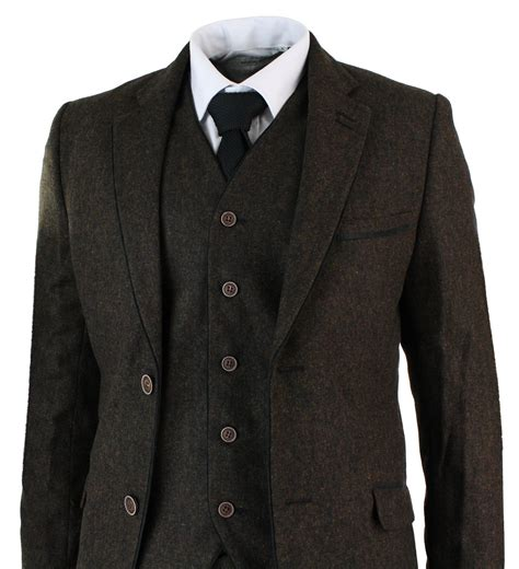 Kaos Brown Arm mens herringbone tweed 3 suit vintage tailored fit
