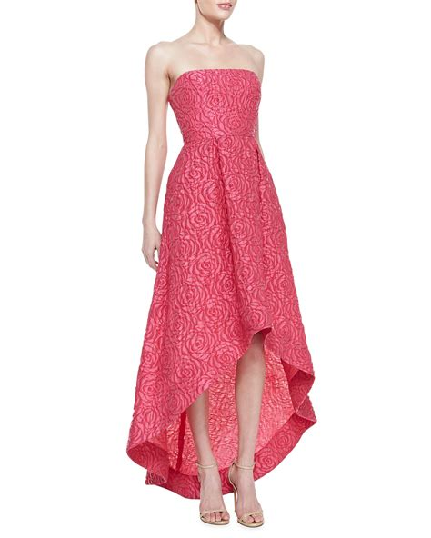 Flower Lace Dress Black Pink Ml ml lhuillier strapless floral texture highlow gown peony in pink peony lyst