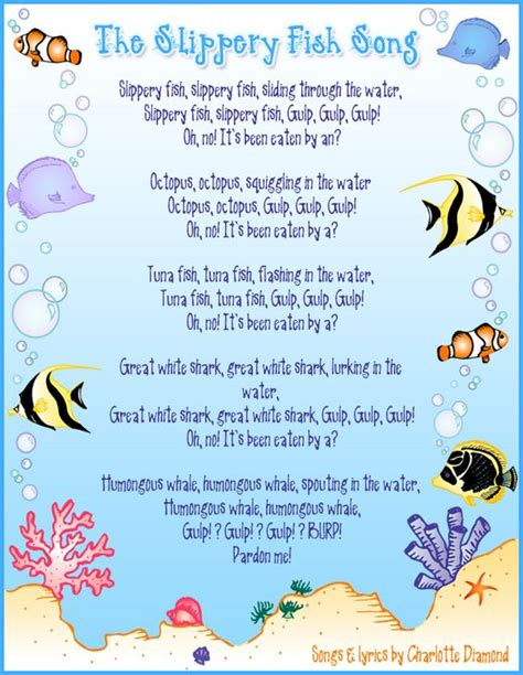 printable songs for toddlers slippery fish annemarie loves this song my bambinos