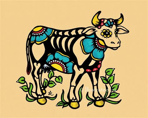 day of the dead cow skeleton dia de los muertos art print 5 x