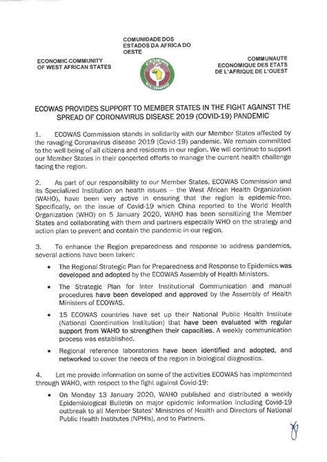 ECOWAS Provides Support to Member States in The Fight