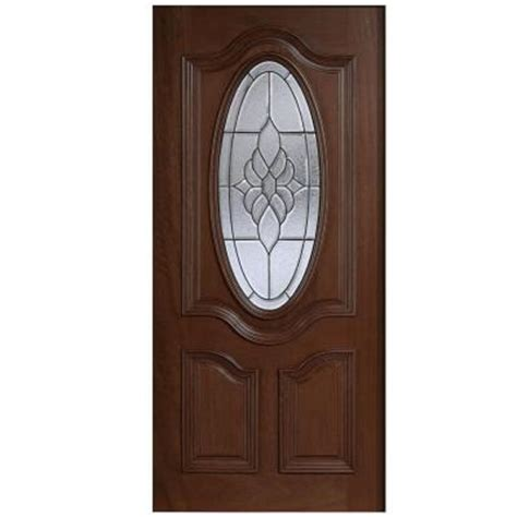 Solid Wood Front Doors With Glass Door 36 In X 80 In Mahogany Type 3 4 Oval Glass Prefinished Antique Beveled Patina Solid
