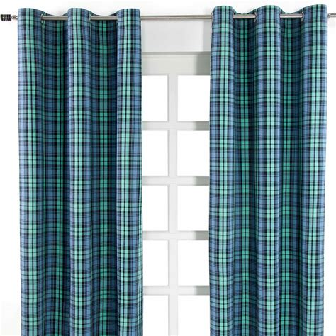 green checked curtains green blue blackwatch tartan check heavyweight cotton