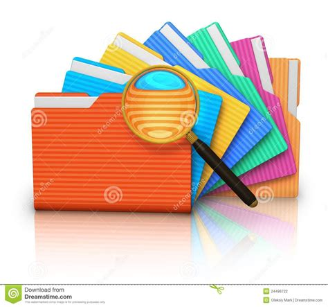 file search concept folders and magnifying glass stock