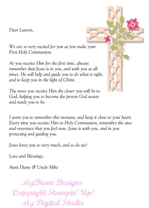 Confirmation Letter To My Nephew Mydiane Designs Holy Communion Letter