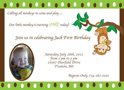 monkey theme 1st birthday invitation by trishadesigncreation
