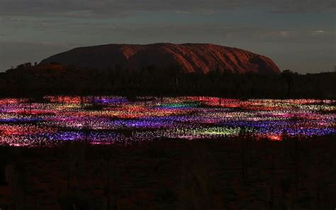 a at field of light uluru in a light