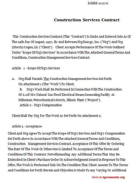 Construction Contract Template Cyberuse Construction Service Agreement Template