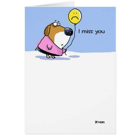 i miss you greeting card zazzle