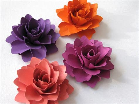 Paper Flowers For Scrapbooking - paper flowers for gifts weddings or scrapbooking set of 6