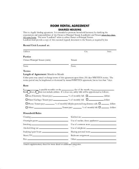 sample house rental contract  documents  word