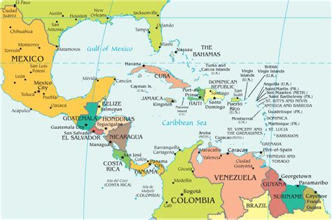central america and the caribbean physical map alejandra romero political geography maps