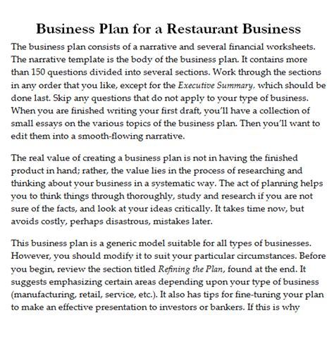 template for business plan restaurant restaurant business plan template pdf