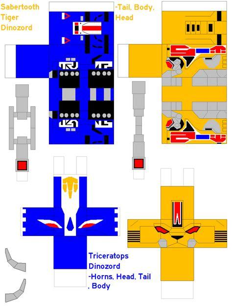 Megazord Papercraft - tyger and triceratophs zords by rexxkentrix on deviantart