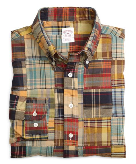 brothers regular fit patchwork madras sport shirt