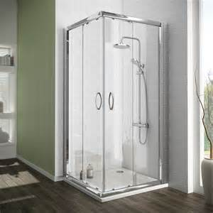 ventura corner entry shower enclosure with pearstone tray