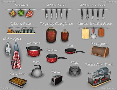 Dara Set 1 dara sims kitchen decor set sims 4 downloads