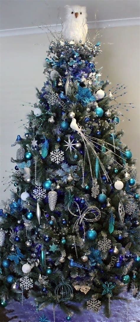 christmas tree shades of blue love the owl christmas