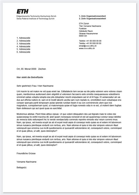 Offizieller Brief An Firma Brief Services Ressourcen Eth Z 252 Rich