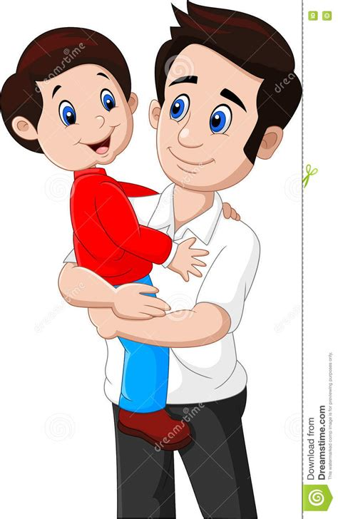 father and son cartoon cartoon father and son playing together stock vector