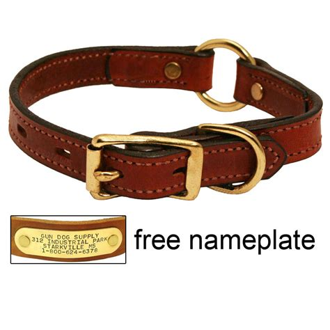 id collar 3 4 in mendota hunt leather center ring safety puppy small collar 22 95