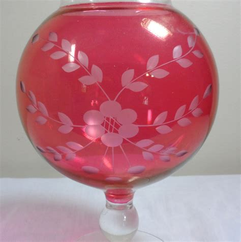 vintage cambridge glass etched cranberry ruffled edge