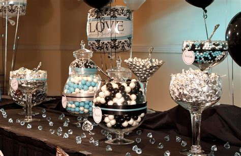 Chic black and white damask with teal bridal shower decor