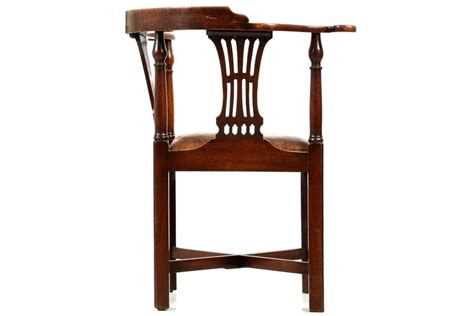 antique corner chair seat antique quot roundabout quot corner chair with leather seat circa