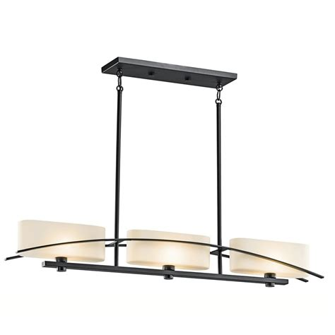 Black Kitchen Light Fixtures Shop Kichler Lighting Suspension 41 In W 3 Light Black Kitchen Island Light With Tinted Shades
