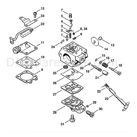 stihl chainsaw carburetor diagram stihl ms 260 chainsaw ms260 vw parts diagram carburetor