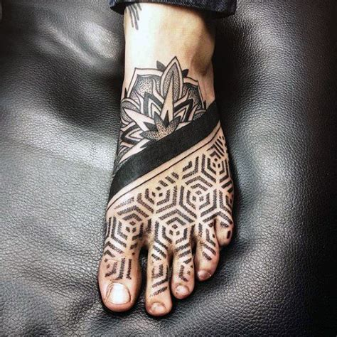 mens foot tattoos with hexagonal with on foot foot