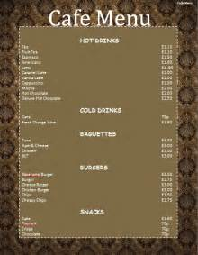 simple cafe menu microsoft word templates