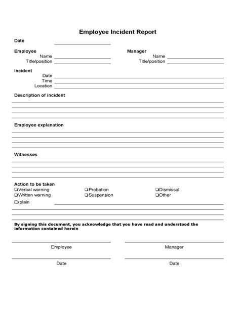 employee report template employee incident report form template free