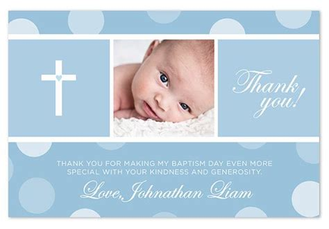 thank you card baptism template powerpoint baptism christening thank you card blue pink by