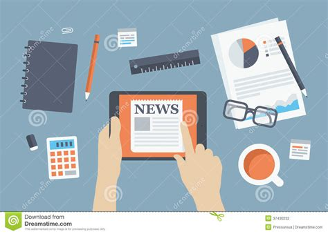 design news manager reading news flat illustration stock photography