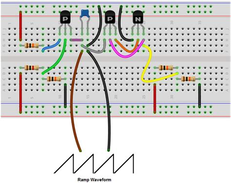 circuit to breadboard dise 241 o electr 243 nico simple 3 transistor sawtooth generator oscillator how to build a r