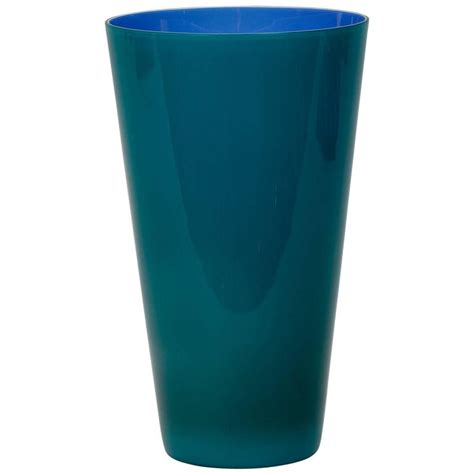 Teal Vases For Sale Mid Century Venini Vase In Blue And Teal Murano Glass