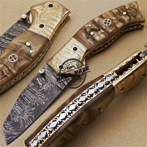 damascus folding knife custom handmade damascus steel pocket