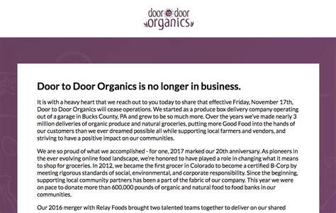 Colorado Door To Door Organics by Recent Arrival Door To Door Organics Closes Abruptly