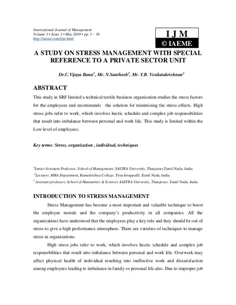 Stress Management Project Report Mba by A Study On Stress Management With Special Reference To A
