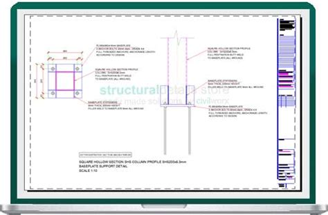 Shs Section by Square Hollow Section Shs Column Baseplate Detail Drawing
