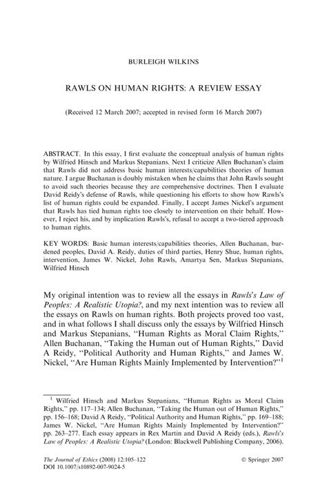 Human Capabilities Essay by Rawls On Human Rights A Review Essay Springer