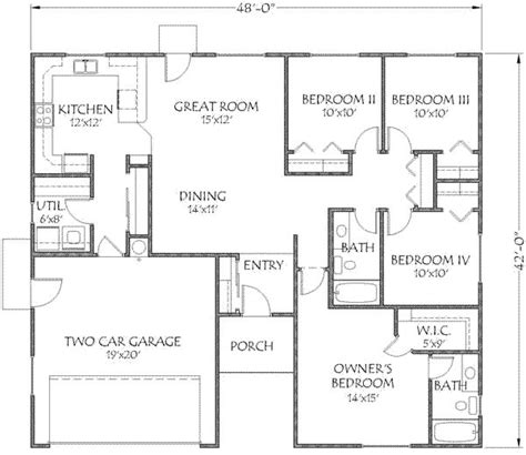 1500 square feet 4 bedrooms 2 batrooms 2 parking space on 1 levels house plan 13897 all