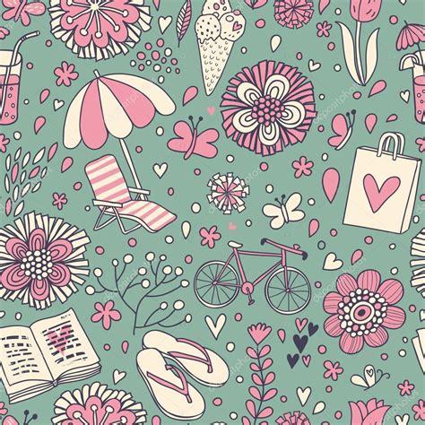 cute vintage pattern background 与可爱卡通元素的复古无缝模式 无缝模式可以用于壁纸 图案填充 web 页面背景 表面纹理 图库矢量图像 169