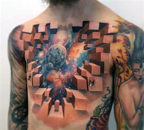 tattoo 3d chest 40 3d chest tattoo designs for men manly ink ideas