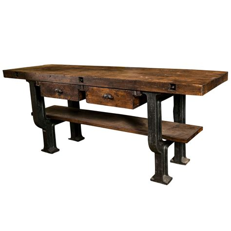 Superb Quality French Cast Iron Base And Beech Industrial Industrial Work Tables