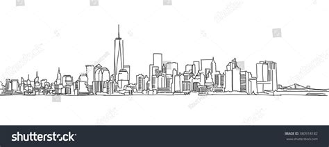 City Outline Vector by Free Sketch New York City Stock Vector 380918182